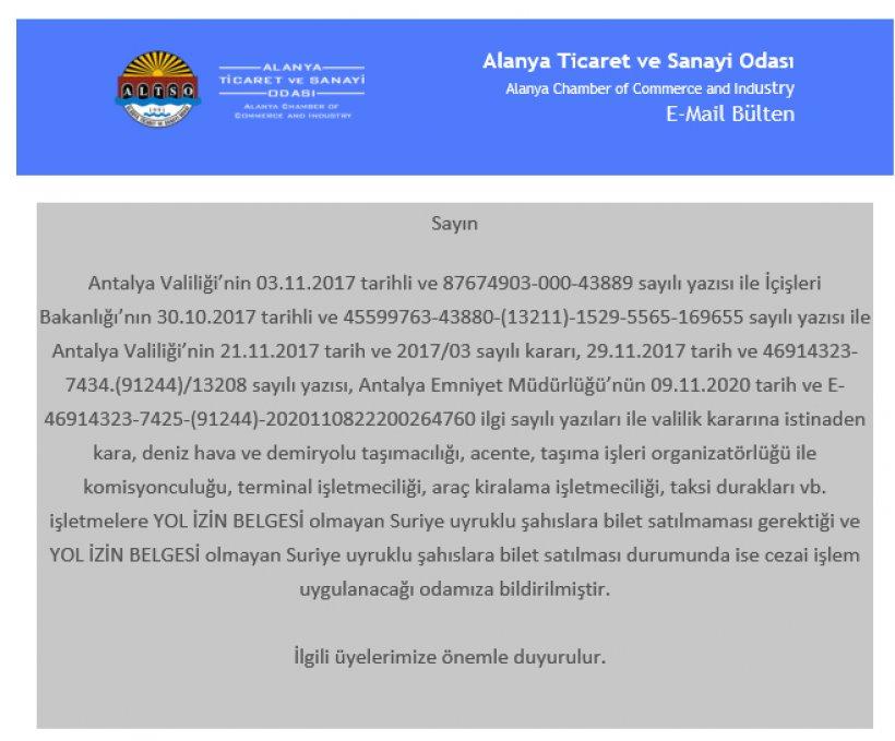 Son dakika: Suriyelilerin Antalya Bölgesi'nden çıkışı yasaklandı!